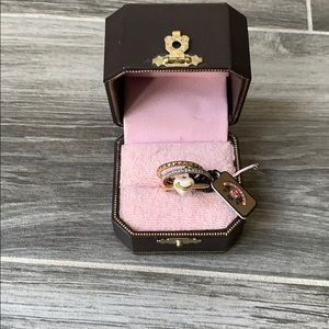 New Juicy Couture Puffed Heart Pearl Ring Set 3